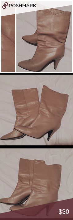 Vintage Leather Boots Stone brown color, mid-length, barely worn, slight scuffing on toe, very cute & in good condition! These cuties are marked size 9 medium, but fit an 8.5. Vintage Shoes Heeled Boots