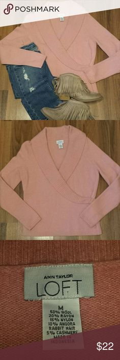 Cashmere {LOFT} Sweater This Cashmere blend Loft Sweater is so soft and cozy! The beautiful, soft, rose pink color is so flattering & looks great with many skin tones. The color is best depicted in the 3rd picture. Fabric: 50%Wool, 20%Rayon, 15%Nylon, 10% Angora Rabbit Hair. Measurements: Length 23, Bust 18, Waist 18, Arm 26. LOFT Sweaters