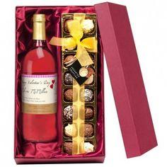 Personalised Rose Wine and Chocolates Gift Set