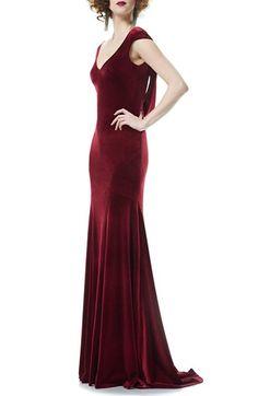 8351083cfb Theia Velvet Mermaid Gown available at  Nordstrom Red Velvet Dress