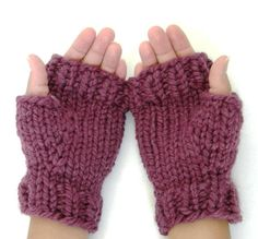 Wool Mitts- Hand knitted chunky fingerless mitts with ribbed edging. Soft wool blend make these mitts comfy and stylish. Fingerless design makes for easy driving or texting. Shown in Fig. $18 #knitting #gloves #purple #fig #chunky #wool #winter