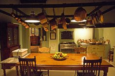Kitchen at Hawksmoor House Wine Country, Country Kitchen, South African Wine, Cape Dutch, Cape Town, Pots, Ceiling, Home Decor, Cooking