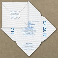 Blue and White Wedding Ideas - Stripes and Style - Self-Mailer Invitation | Occasions In Print, LLC (Invitation Link - http://occasionsinprint.carlsoncraft.com/Wedding/Wedding-Invitations/3254-TWS36250-Stripes-and-Style--SelfMailer-Invitation.pro)
