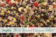 This black bean and couscous salad is the best recipe!! Simple, delicious and healthy...plus toddler approved! Its very forgiving...you can add more dressing, omit peppers and add olives...etc. This recipe is in my monthly rotation now! Plus it can be made for vegetarians!