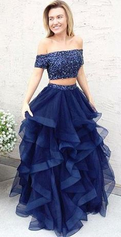 A Line Dark Blue Tulle Off Shoulder Long Ruffles Prom Dress,Two Pieces Evening Dress #evening #puffy #prom #offtheshoulder #twopieces #2piece #okdresses