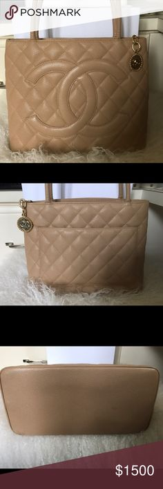Chanel Medallion Tote Absolutely beautiful quilted caviar leather Chanel Tote. Gold tone hardware and stitched CC accent at front. Single exterior pocket in back with open pocket and zip pocket inside. Full zip closure on top. Barely worn and kept in bag and box. No wear at all. CHANEL Bags Totes