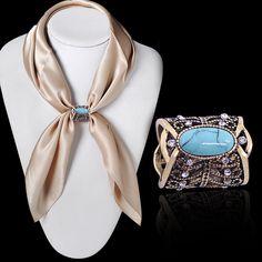 Novos Acessórios de Moda Boemia Do Vintage Bronze Banhado A Prata Turquesa Broche Cachecol Clipes Pins Cachecol Fivela Jóias