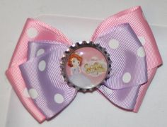 Sofia the First Pink and Purple Hair Bow by bowsforme on Etsy, $6.99