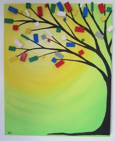 Paint a tree and use Lego for leaves!!! LEGO TREE!!!