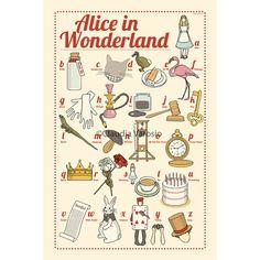Alice nel paese delle meraviglie: la stampa di 12 x 18 pollici ABC illustrata