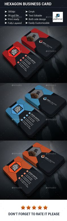 Hexagon Shaped Business Card — Photoshop PSD #print #professional • Available here → https://graphicriver.net/item/hexagon-shaped-business-card/15067301?ref=pxcr