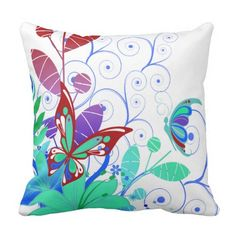 Blue and Green Butterflies and Flowers Outdoor Pillow Outdoor Throw Pillows, Decorative Throw Pillows, Green Butterfly, Butterflies, Flowers, Blue, Accent Pillows, Butterfly, Royal Icing Flowers