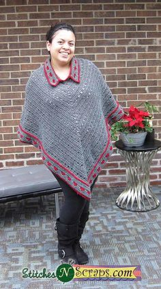Collared Crochet Poncho/FREE pattern