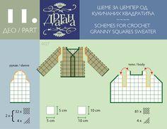 Crochet Squar Motifs Diagrams. For a Jumper