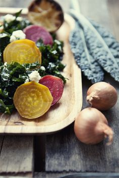 Roasted Beets and Lacinato Kale Salad with Lemon Vinaigrette. I make often and it is delicious..