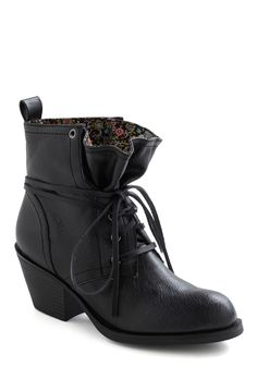Loop the Cute Boot in Black - Black, Solid, Safari, Lace Up, Chunky heel, Mid, Faux Leather, Casual, 90s, Tis the Season Sale, Variation