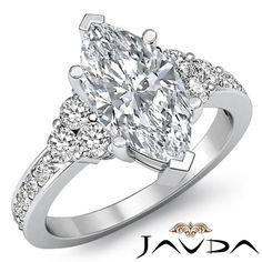3 Stone Marquise Diamond Stunning Engagement Ring EGL F SI1 Platinum 950 1 5 Ct | eBay