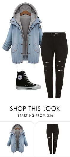 """denim"" by irene-messori on Polyvore featuring Converse, women's clothing, women's fashion, women, female, woman, misses, juniors, black and DenimStyle"