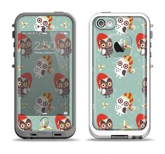 The Cartoon Snowy Colored Owls Apple iPhone 5-5s LifeProof Fre Case Skin Set