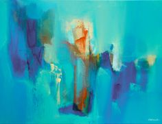 Painting Blue and Orange Abstract Painting Two Pieces by Artoosh