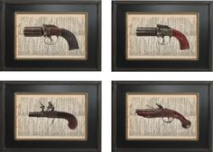 Set of 4   5 x7 inch Flintlock Pepperbox Pistol by ForgottenPages, $22.00