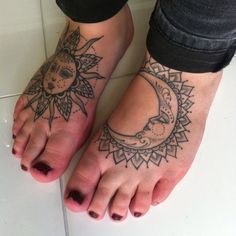Healed sun and moon feet tats #tattoo #foottattoo #sun #moon #sunandmoon #dotwork #blackwork #patterns #woodfarm