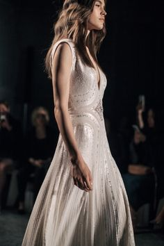 Jenny Packham's Spring 2016 bridal collection inspired by a Midsummer Nights Dream. A collection of dusky tints and otherworldly embellishment. Beaded Wedding Gowns, Elegant Wedding Gowns, Wedding Bridesmaid Dresses, Bridal Dresses, Unique Dresses, Beautiful Dresses, Jenny Packham Bridal, Wedding Styles, Wedding Ideas