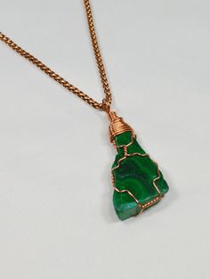 Malachite Necklace . Copper Wire Wrapped by StarshineInnovations