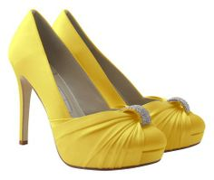 Yellow heels with diamond accents