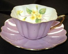 Shelley Yellow Primrose Mauve Purple White Tea Cup and Saucer | eBay