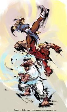 Street Fighter - Chun-Li Ken and Ryu Street Fighter Tekken, Ryu Street Fighter, Super Street Fighter, Street Fighter Wallpaper, Arcade, Gi Joe, Street Fighter Characters, Pawer Rangers, World Of Warriors