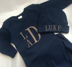Baby Boys Navy and Grey Monogrammed Gown Set by EzaleeAndMaddie