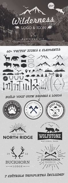 FreebiesQuest - Free Wilderness Logo & Icon Survival Kit by Chris Spooner