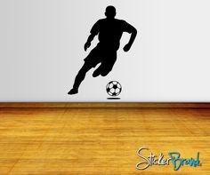 Vinyl Wall Decal Soccer Football Player    Item770 by Stickerbrand-this would be a good birthday gift for my biggest guy