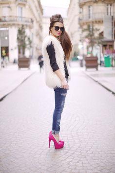 Almost Famous vest, pink heels