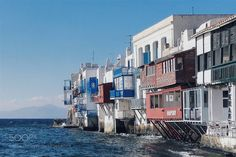 Mikonos little Venice by qeialbs  sky sea water travel house tourism architecture building town canal seashore outdoors daylight