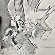 "Mais... qu'est ce que c'est que... ??!?"" ""Mickey in Subnautica Project"" #loupclier #drawing #art #dessin #subnautica #disney #mickey"