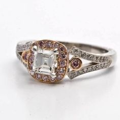 1.05 ct Pink Diamond Art Deco Platinum 18K Gold Engagement Ring. Via Dover Jewelry.
