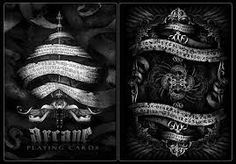 Arcane Playing Cards (Black Deck) by Ellusionist Black Deck, Bicycle Cards, Card Tricks, Magic Tricks, Deck Design, Deck Of Cards, Tarot, Playing Cards, Decks