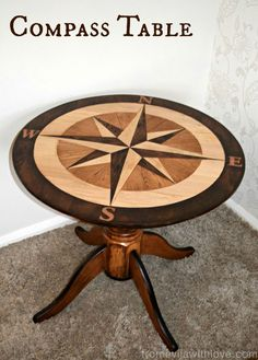 """General Finishes was proud to have been the sponsor for the September """"geometric design"""" Fab Furniture Flippin' Contest. From Evijta With Love entered this gorgeous compass table that was stained with General Finishes Java and American Oak Gel Stains and sealed with GF's waterbased High Performance Top Coat in satin."""