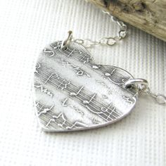 Sheet Music Heart Jewelry In My Heart Necklace Sterling Silver Valentine Spring Fashion Jewelry Dainty Charm Pendant - Jennifer Casady. $45.00, via Etsy.