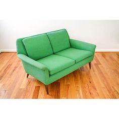 Image of Mid-Century Folke Ohlsson Green Loveseat Sofa