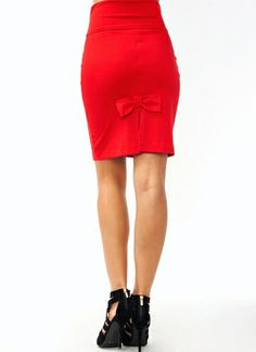 Red bowed skirt