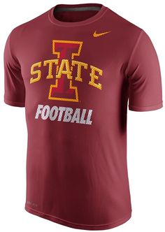 Gear up for game day, or any day, with this striking men's Iowa State Cyclones t-shirt from Nike. PRODUCT FEATURES Crewneck Short sleeves Polyester Machine wash Imported