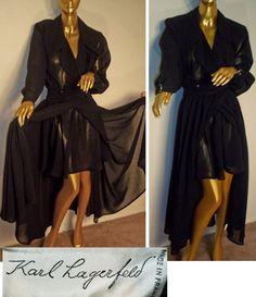 MUSEUM QUALITY Vtg 80s KARL LAGERFELD CHANEL ERA Ethereal SHEER Black Dress