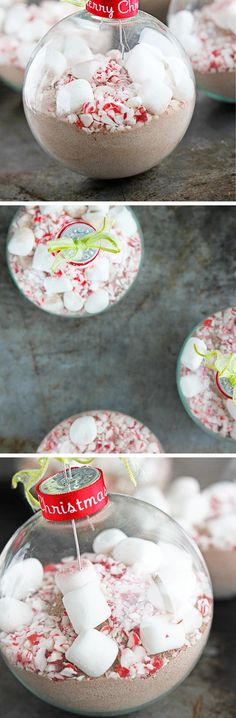 Peppermint Cocoa Christmas Ornaments | Click Pic for 29 DIY Christmas Gift Ideas for Men | Last Minute DIY Christmas Gifts for Friends