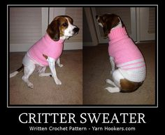 Written Crochet PATTERN: Critter Sweater  Dog/Cat  Instant