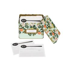 Rifle Paper Co. Recipe Box ❤ liked on Polyvore featuring home, home decor, rifle paper co recipe box, tin recipe box and recipe tin