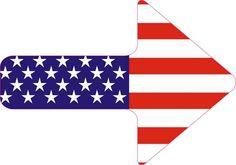 5in x 3.5in American Flag Arrow Sticker Vinyl Sign Pointer Symbol Stickers