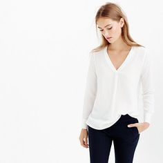 J.Crew silk draped v-neck blouse in ivory. Shop now on ShopStyle!